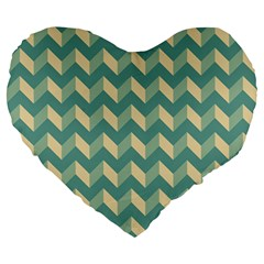 Mint Modern Retro Chevron Patchwork Pattern 19  Premium Flano Heart Shape Cushion