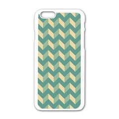 Mint Modern Retro Chevron Patchwork Pattern Apple Iphone 6 White Enamel Case