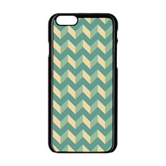 Mint Modern Retro Chevron Patchwork Pattern Apple iPhone 6 Black Enamel Case