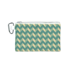 Mint Modern Retro Chevron Patchwork Pattern Canvas Cosmetic Bag (Small)