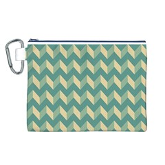 Mint Modern Retro Chevron Patchwork Pattern Canvas Cosmetic Bag (Large)