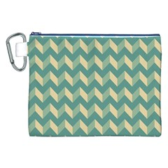 Mint Modern Retro Chevron Patchwork Pattern Canvas Cosmetic Bag (XXL)