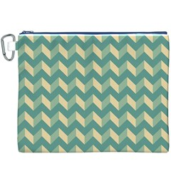 Mint Modern Retro Chevron Patchwork Pattern Canvas Cosmetic Bag (XXXL)