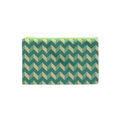 Mint Modern Retro Chevron Patchwork Pattern Cosmetic Bag (xs)