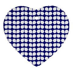Blue And White Leaf Pattern Heart Ornament