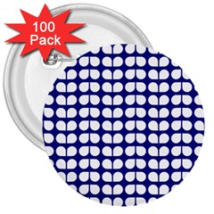 Blue And White Leaf Pattern 3  Button (100 Pack)