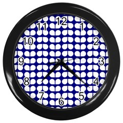 Blue And White Leaf Pattern Wall Clock (black)