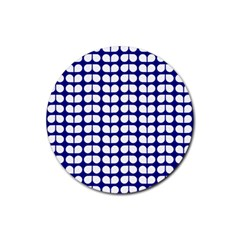 Blue And White Leaf Pattern Drink Coaster (round)