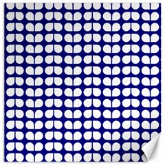 Blue And White Leaf Pattern Canvas 12  X 12  (unframed)