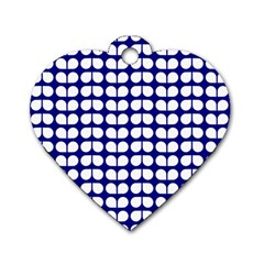 Blue And White Leaf Pattern Dog Tag Heart (two Sided)
