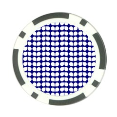 Blue And White Leaf Pattern Poker Chip