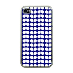 Blue And White Leaf Pattern Apple Iphone 4 Case (clear)