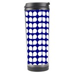 Blue And White Leaf Pattern Travel Tumbler Left