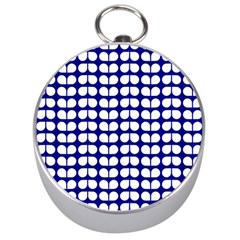 Blue And White Leaf Pattern Silver Compass