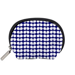 Blue And White Leaf Pattern Accessory Pouch (Small)