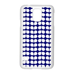 Blue And White Leaf Pattern Samsung Galaxy S5 Case (White)