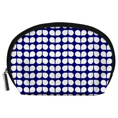 Blue And White Leaf Pattern Accessory Pouch (Large)