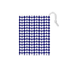 Blue And White Leaf Pattern Drawstring Pouch (small)