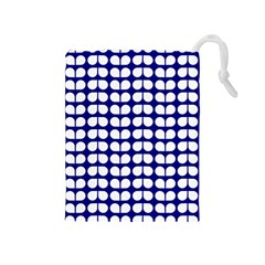 Blue And White Leaf Pattern Drawstring Pouch (Medium)