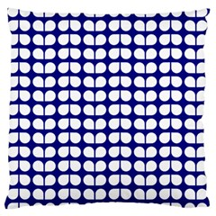Blue And White Leaf Pattern Large Flano Cushion Case (one Side)