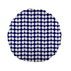 Blue And White Leaf Pattern 15  Premium Flano Round Cushion