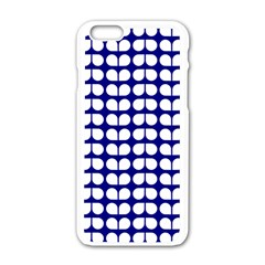 Blue And White Leaf Pattern Apple Iphone 6 White Enamel Case