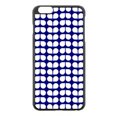 Blue And White Leaf Pattern Apple Iphone 6 Plus Black Enamel Case