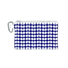 Blue And White Leaf Pattern Canvas Cosmetic Bag (Small)