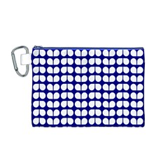 Blue And White Leaf Pattern Canvas Cosmetic Bag (Medium)