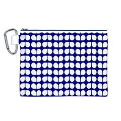 Blue And White Leaf Pattern Canvas Cosmetic Bag (Large)