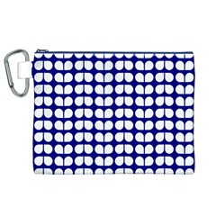 Blue And White Leaf Pattern Canvas Cosmetic Bag (XL)