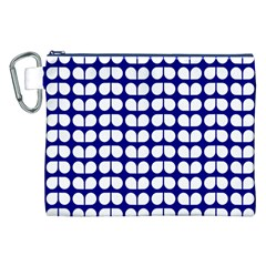 Blue And White Leaf Pattern Canvas Cosmetic Bag (xxl)