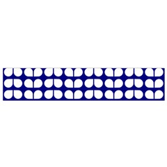 Blue And White Leaf Pattern Flano Scarf (Small)