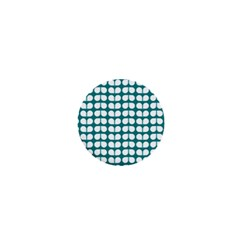 Teal And White Leaf Pattern 1  Mini Button