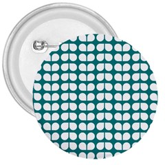 Teal And White Leaf Pattern 3  Button