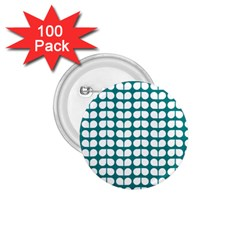 Teal And White Leaf Pattern 1 75  Button (100 Pack)