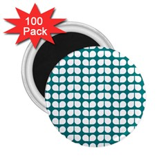 Teal And White Leaf Pattern 2 25  Button Magnet (100 Pack)