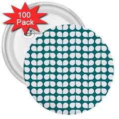 Teal And White Leaf Pattern 3  Button (100 Pack)