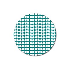 Teal And White Leaf Pattern Magnet 3  (round)