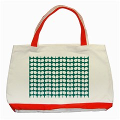 Teal And White Leaf Pattern Classic Tote Bag (red)