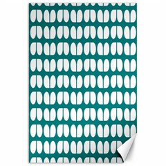Teal And White Leaf Pattern Canvas 20  X 30  (unframed)