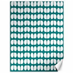 Teal And White Leaf Pattern Canvas 36  x 48  (Unframed)