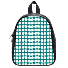 Teal And White Leaf Pattern School Bag (small)
