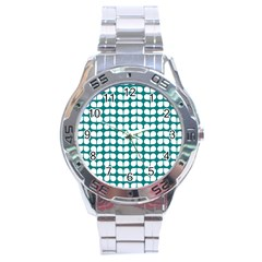 Teal And White Leaf Pattern Stainless Steel Watch