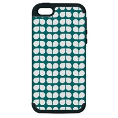 Teal And White Leaf Pattern Apple Iphone 5 Hardshell Case (pc+silicone)