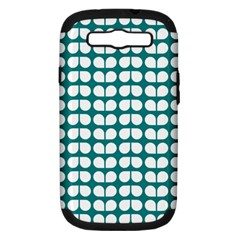 Teal And White Leaf Pattern Samsung Galaxy S Iii Hardshell Case (pc+silicone)