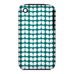 Teal And White Leaf Pattern Apple iPhone 3G/3GS Hardshell Case (PC+Silicone)