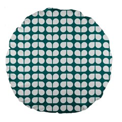 Teal And White Leaf Pattern 18  Premium Round Cushion