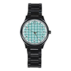 Teal And White Leaf Pattern Sport Metal Watch (black)