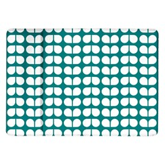 Teal And White Leaf Pattern Samsung Galaxy Tab 10 1  P7500 Flip Case